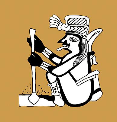 Sacred Cacao God using a Molinillo